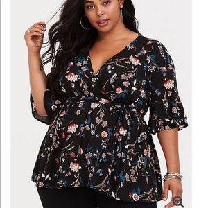 Torrid Lilly Black Floral V-Neck BabyDoll Shirt